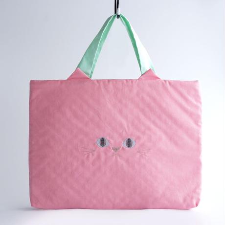 【送料無料】入園・入学準備に!ねこのレッスンバッグ ピンク 内側キルティング (受注製作)