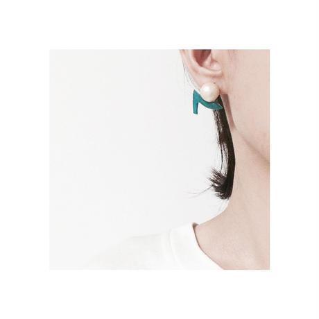 ハイヒールとコットンパールのイヤリング green(受注生産)【送料無料】