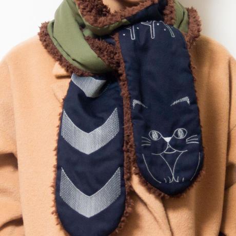 しましましっぽな猫の刺繍ロングマフラーネイビー×カーキ(送料無料)