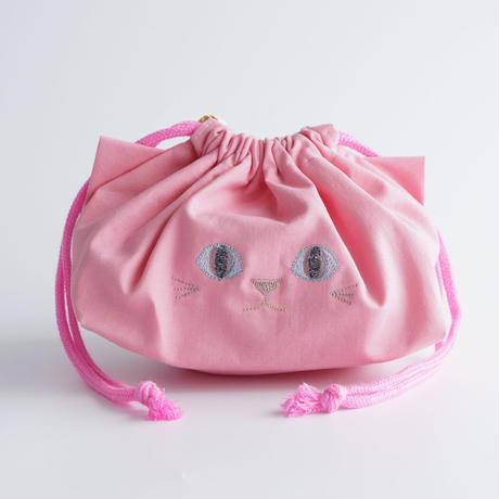 給食袋にもオフィスにも◎ねこの巾着袋(ピンク)【送料無料】【受注製作】
