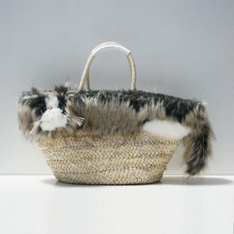 -Pinpignon-ファーの猫かごバッグ エキゾチックロング三毛
