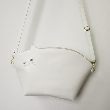 ☆BIGサイズ☆ひげ白猫ポシェット(受注製作)