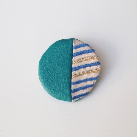 ストライプ刺繍の丸いブローチ001号【送料無料】