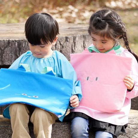 【送料無料】入園・入学準備に!ねこのレッスンバッグ 青 内側キルティング (受注製作)