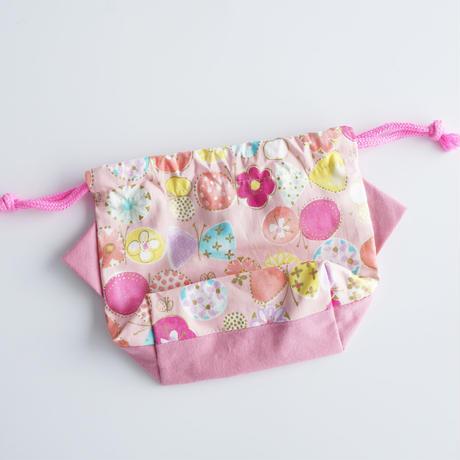 コップ袋にも◎ねこの巾着袋ミニ(グレープピンク)【送料無料】【受注製作】