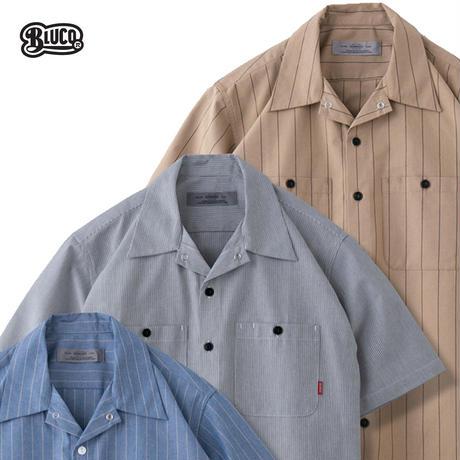 BLUCO(ブルコ) OL-108-021 STANDARD WORK SHIRTS S/S 全3色(ベージュxST・サックスxST・グレーxST)