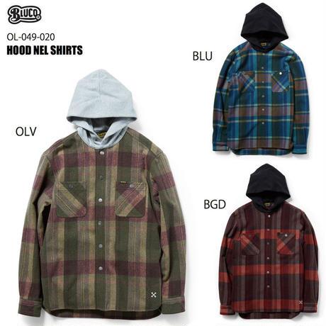 BLUCO(ブルコ)OL-049-020 HOOD NEL SHIRTS 全3色(ブルー・バーガンディ・オリーブ)