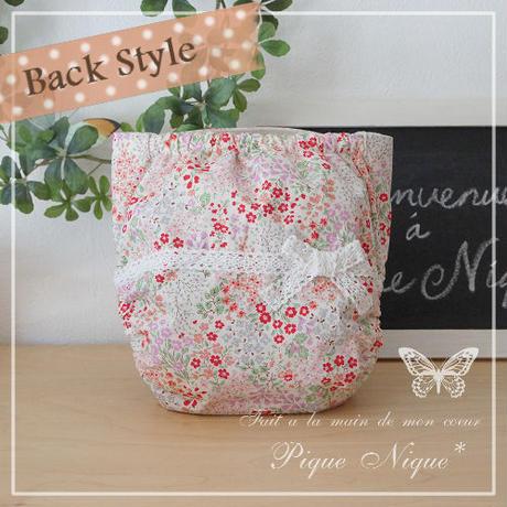 手作り布おむつカバー**Lace Ribbon*Pink Garden【ベルトタイプMサイズ】