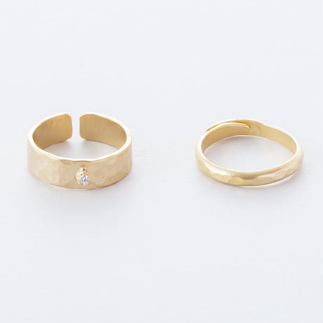 LAR010:ジルコニアツチメリング / 2set Zirconia Brass Hammered finish 2set Ring