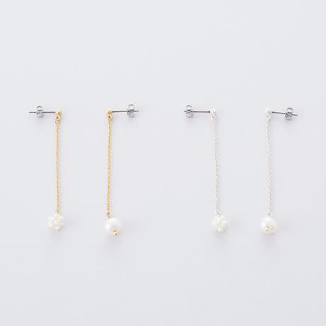LAP063:淡水パールくす玉ピアス  /  Freshwater pearl Kusudama (ornamental balls) Pierce