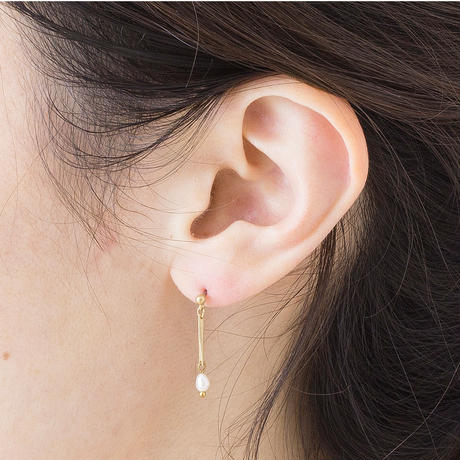 HSP038:ライスパール小波チェーンピアス /  Rice pearl and facet chain  Pierce