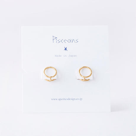 KSE093:ツチメツインサークルイヤリング / Brass Hammered Twin circle Earring