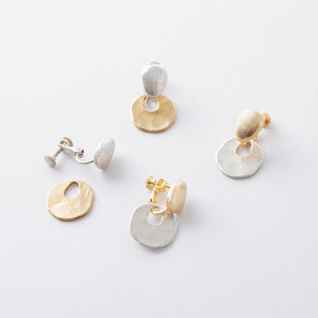 KAE096:ソリッド&ツチメイヤリング / Solid &  Hammered Earring