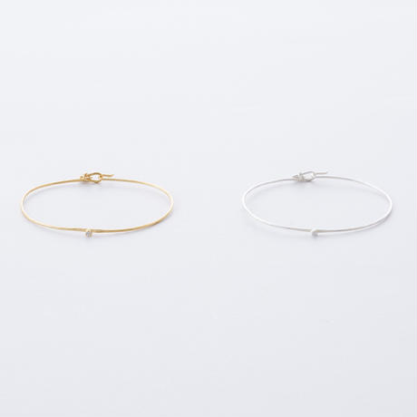 LAB010:ジルコニアツチメバングル / Zirconia Brass Hammered finish Bangle