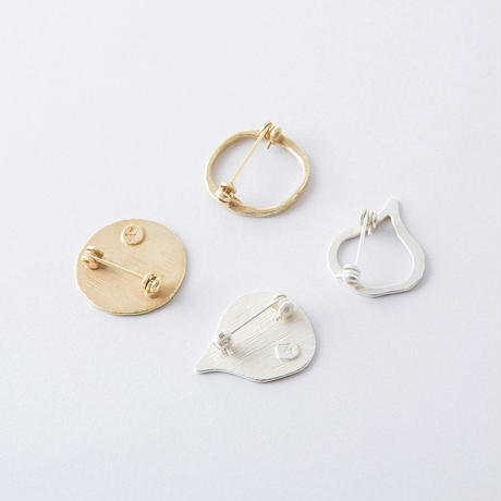 KSZ013 ハンドワーク2setブローチ/ Brass Hammered finish 2set Brooch