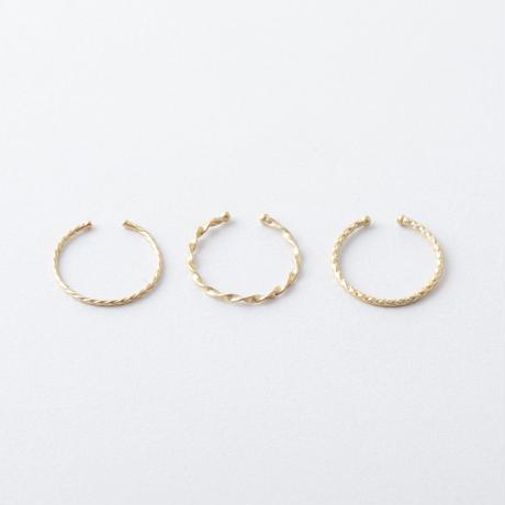 KAR020:ツイスト&カットライン3setリング / Twist & Cut Line 3Set Ring