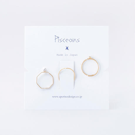 ジルコニア&パール3setリング / Brass Hammered Cubic zirconia&Pearl 3set Ring