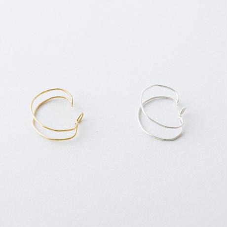 YAE008:ツチメダブルラインイヤカフ / Brass Hammered Double line Ear cuff
