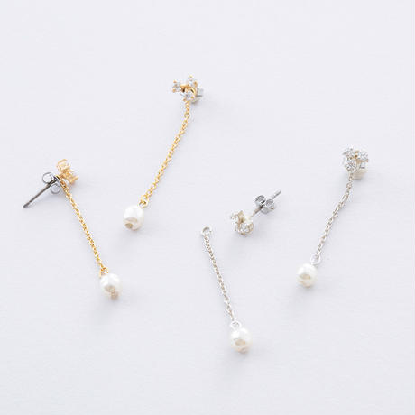 KSP095:3ドットジルコニア&パールピアス /  Cubic zirconia of 3 drop s &Pearl  Pierce