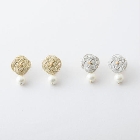 あわじ結び×コットンパールイヤリング / Awaji knot × Cotton pearl Earring
