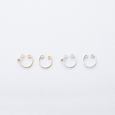 KSE010:ツチメイヤカフジルコニアset / Brass Hammered  Ear cuff  2set (Cubic zirconia)