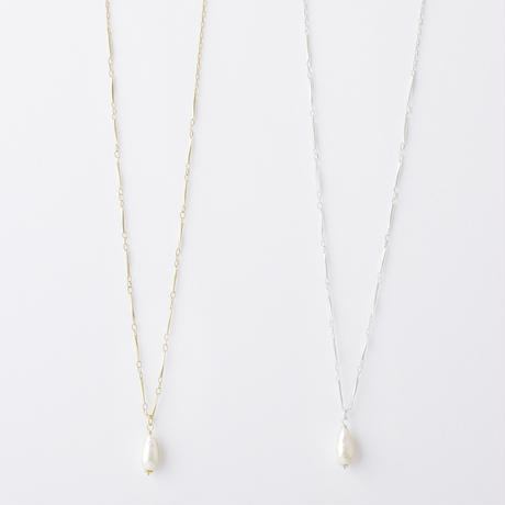 RAN081:シズクバロックパールネックレス/ Drop type Baroque pearl Neclace