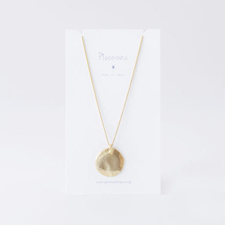 RSN035:ツチメサークルスクープネックレス / Brass Hammered Scoop Circle Necklace