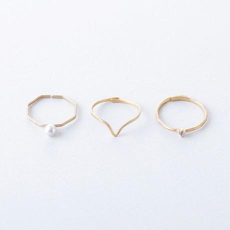 KSR009:ジルコニア&パール3setリング / Brass Hammered Cubic zirconia&Pearl 3set Ring