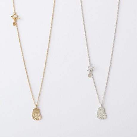 KAN028:ツチメ&ラインダブルフェイスネックレス / Hammered &Line Double Face Necklace