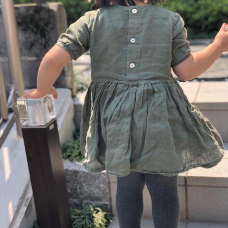 tita  リネンギャザーワンピース七分袖 kids