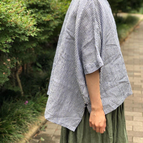 nuu バンドカラー半袖シャツ