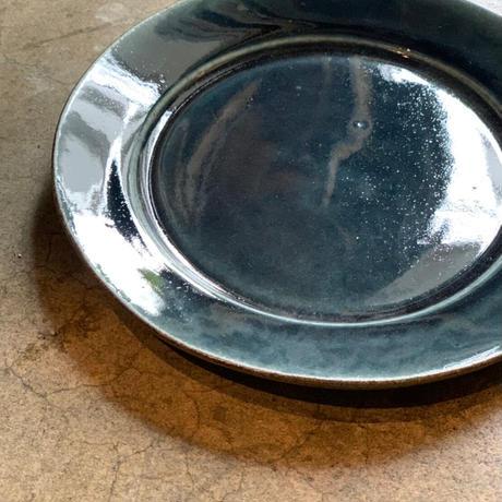 益子焼 ルリ釉 リム皿 L