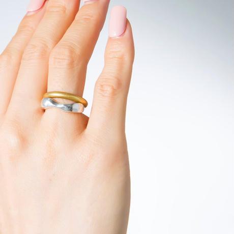 minamo ring browndiamond(silver925 pinkgold plated)