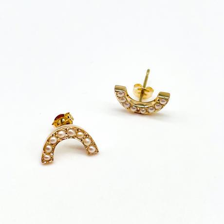 rainbow pierced earrings-pearl-