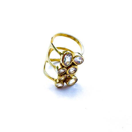 PLAFU gems 7crystals earcuff &pinky ring