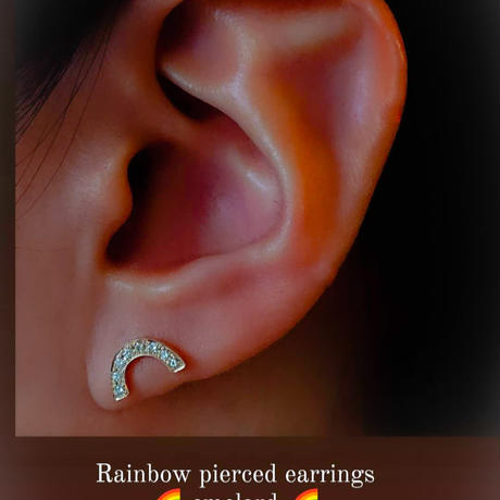 Rainbow pierced earrings-aquamarine-