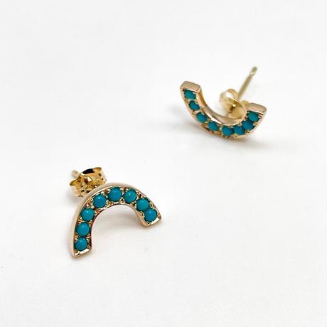 Rainbow pierced earrings-turquoise-
