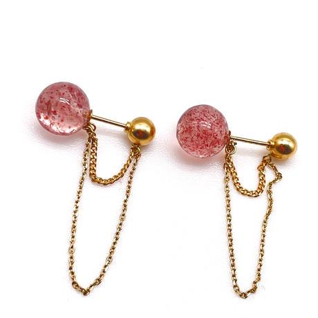 Coron 2way pierced earrings-K18・strawberry quartz-