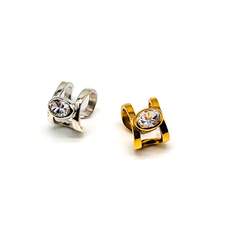 Happiness of the loop earcuff-concave cut crystal-