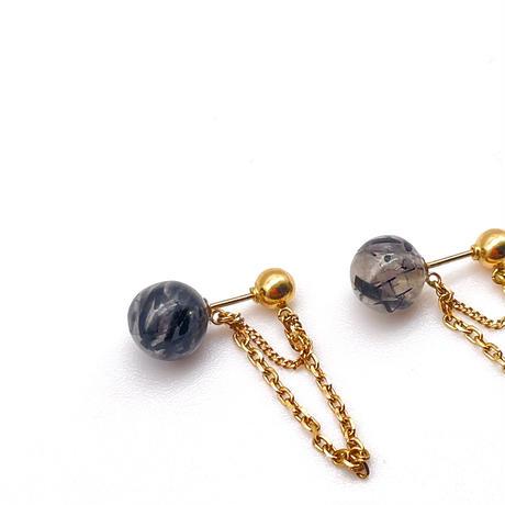 Coron 2way pierced earrings-K18・black tormalin in quartz-