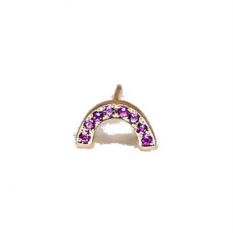Rainbow pierced earrings -amethyst -