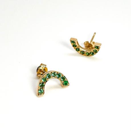 Rainbow pierced earrings-emelard-