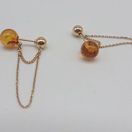 Coron 2way pierced earrings-K18・amber-