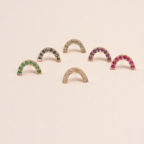 Rainbow pierced earrings-ruby-