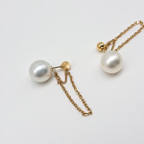 CORON series Pearl × K18・southsea pearl  -reversible earrings