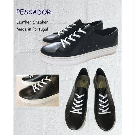 PESCADOR Leather Sneaker Made in Portugal ペスカドール ブラックシューズ