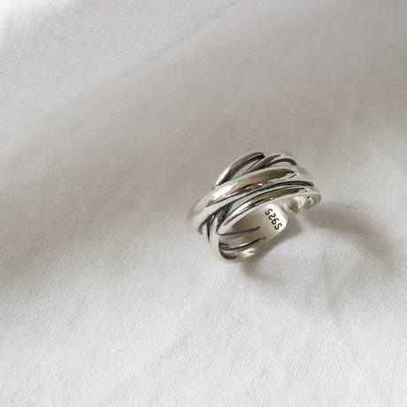 [silver925] cross line ring