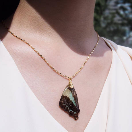 【蝶】Butterfly Necklace - Black Green -