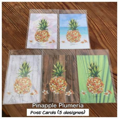 Hawaiian Chalk Art 'Pineapple Plumeria' Post Catds (5 Cards Set)