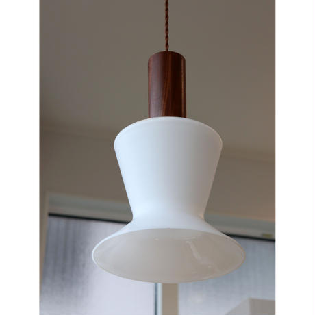 teak and opal glass ceiling lamp